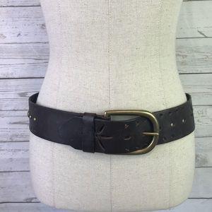 Aldo brown belt M rivet perforated genuine leather